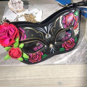 Betsey Johnson masquerade mask crossbody